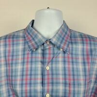 Peter Millar Blue Red Green Check Plaid Mens Dress Button Shirt Size XL