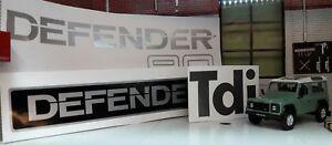 Complete Body Badge Silver Decal Label Kit Set for Defender SWB 90 TDi Diesel