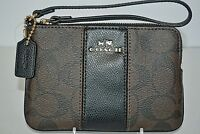 Coach Wristlet Purse Clutch Pouch Brown Black Leather Signature Bag Card Wallet