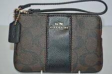 Coach Wristlet Purse Clutch Pouch Black Brown Leather Signature Makeup Bag New