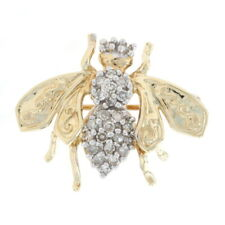 Yellow Gold Diamond Bee Brooch - 10k Single Cut .25ctw Flying Insect Pin