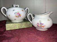 Vintage German Felda China Porcelain Lidded Sugar Bowl & Creamer Set
