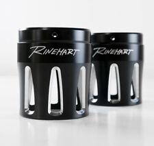 """Rinehart 4"""" Black Machined Moto Series Merge Style End Caps Harley Muffler Pair"""