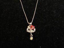 Necklace Crystal Rhinestone Small Hello Kitty Pendant Silver Tone Shiny CHIC