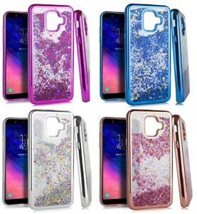 For Samsung Galaxy A6 (2018) TPU Rubber Flowing Waterfall Liquid Glitter Case