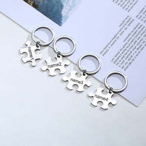 Personalized Engraved Puzzle Autism Keychain Keyring Best Friendship Family Gift