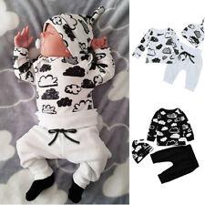 Kids Newborn Infant Baby Girl&Boy Cloud Print T-Shirt Tops+Pants Outfits Clothes