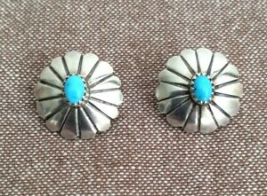 Vintage silver and turquoise Native American stud earrings