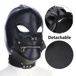 Lockable Leather  Hood Zipper Mouth Gag Full Gimp Open Eyes Slave Harness