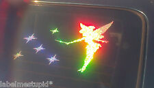 Tinkerbell *RAINBOW HOLOGRAPHIC*  with Stars  Fairy Car Sticker