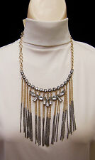 Macy's Gold Tone Chucky Chain Link Necklace Large Bib Pendant Clear Crystals New