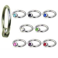 1,2mm TITAN Piercing Ring Lippenbändchen 4mm Kristall Flatback Kugel Lippe Ohr