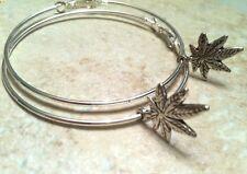 "MARIJUANA LEAF large 2"" silver plated hoop earrings, gift maryjane pot"