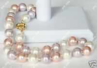 """12mm White Pink Purple Genuine South Sea Shell Pearl Necklace 18"""""""