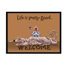 Afghan Hound Dog Breed Life Is Good Cartoon Artist Doormat Floor Door Mat Rug