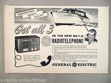 Radiotelephone Boat Marine Two-Way Radio MS-1-A PRINT AD - 1948 General Electric