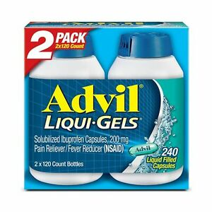 240 Ct ADVIL Liqui-Gels Capsules Pain Reliever Fever Reducer(NSAID) 2X120 Bottle