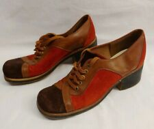 1970s Vintage Hush Puppies Shoes Suede Leather Orange Brown sz 7 Fantastic!