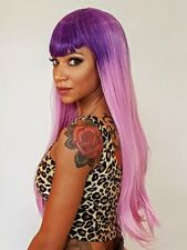 Long Straight Lilac Purple Ombre V Fringe Fashion Cosplay Wig | Heat Styleable