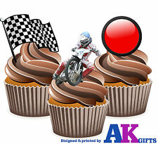 PRECUT Speedway Bike Flag Red Light Mix 12 Edible Cupcake Toppers Decorations