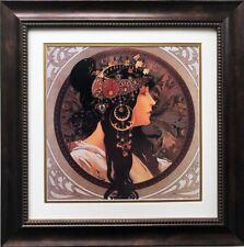 "Alphonse Mucha ""Tetes Byzantines: Brunette""  (detail) CUSTOM FRAMED ART Nouveau"