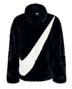 NWT! Nike NSW Sportswear Faux Fur Jacket Black Fossil CU6558-010 Women's Size-XL