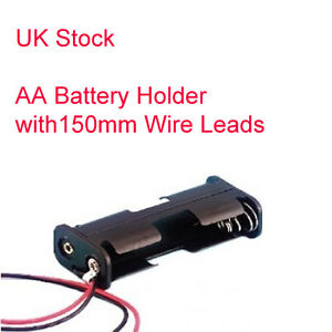 Double AA Battery Holder - 150mm Wire Leads - (2x AA Holder)