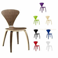 Norman Cherner Style Plywood Accent Dining Side Chair Walnut Natural Finish