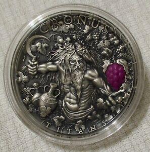 CRONUS (Titans) 2oz Pure Silver Antiqued Coin (2018), UHR - Niue/Poland (Kronos)