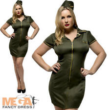 Fever Army Ladies Fancy Dress Military Uniform Womens Adults Costume Plus Size