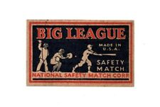 >orig. 1940's-50's  *Big League Safety Match* UNUSED LABEL with BASEBALL MOTIF