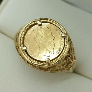 9ct Yellow Gold Greek Coin Signet Ring, Finger Size N