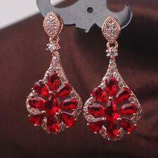 HUCHE Red Sapphire Ruby Crystal Flower Rose Gold Filled Women Dangle Earrings