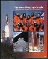 St Vincent & Grenadines 2019 MNH Space Shuttle Columbia Launch 3v M/S Stamps