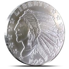 5~OZ ~ PURE .999 SILVER ~ INCUSE  INDIAN  HEAD ~ AWESOME ~ $128.88 ~BUY IT NOW !