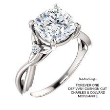 2.06 Carat Forever One DEF Moissanite & Diamond Ring 14K Gold CHARLES & COLVARD