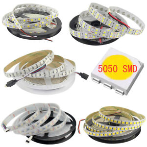 16.4ft 5m 5050 300/600LEDs Flexible LED Strip Lights Warm White RGB CCT RGBW DC