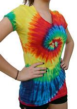 Tie Dye T-Shirt, V Neck, Women's (Regular Fit), Multi-color, 100% Cotton