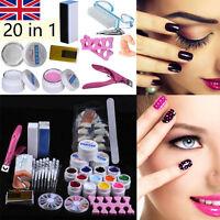 20 in 1 Professional Nail Art Kit DIY UV Gel Manicure Tips Polish Brush Tool Set
