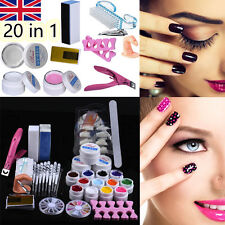 20 in 1 Professional Nail Art Kit DIY UV Gel Manicure Tips Polish Brush Tool Set