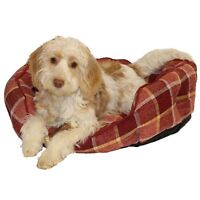 Dog Bed Time Spiced Wine Check Oval Bed Bedding 62x52cm (Medium)