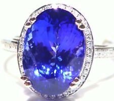 9.98CT 14K Gold Natural Tanzanite White Cut Diamond Engagement Wedding AAAA Ring