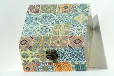 Wood handmade hinged medium storage/trinket box decoupage MOROCCAN