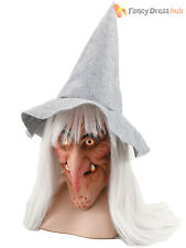 Adult Witch Overhead Mask Hat + Hair Halloween Witches Fancy Dress Accessory