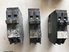 Three (3) 20 Amp 2-Pole 10kA Circuit Breakers Siemens, used