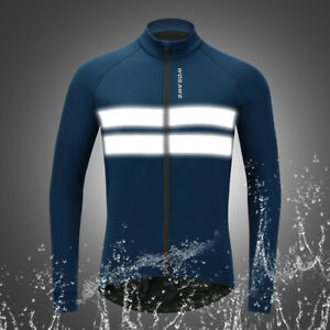 High Visibility Cycling Jacket Thermal Fleece Coat Winter Warm Waterproof Blue