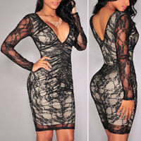Women's Sexy's  Lace Long Sleeve V-neck Bodycon Short mini dress Party clubwear