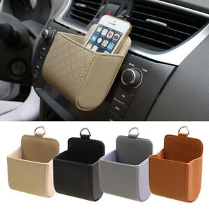 Car Air Vent Outlet Phone Pocket Storage Box Organizer Bag Holder Pouch Leather