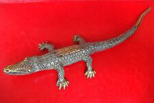 OLD VINTAGE HANDMADE CARVED BRONZE Crocodile, Alligator FIGURE STATUE