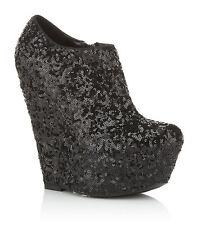 Kurt Geiger Carvela Black Platform Sequin Wedge Boots.uk 7 EU 40